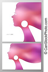 Abstract vector background. Female profile for greeting card...