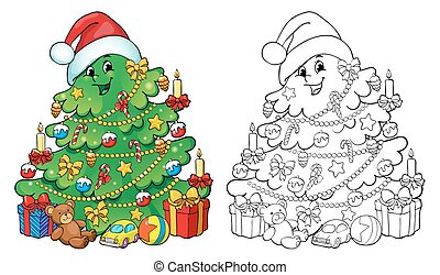 Coloring book, illustration. Christmas tree with gifts. Greeting card concept.