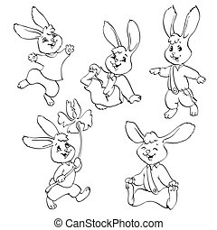 Coloring book or page. Vector set of rabbits. - Coloring...