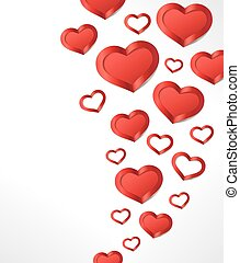 Valentine's Day background with Red hearts.