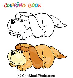 Coloring book with dog - vector illustration.