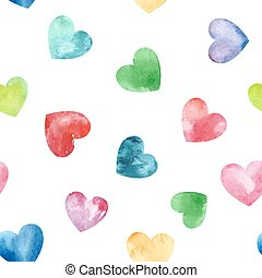 Seamless pattern with fanny watercolor hearts. - Vector...