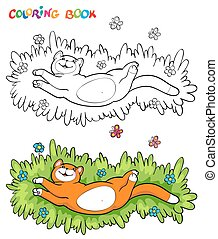 Coloring book with red cat on the grass with two butterflies - vector illustration.