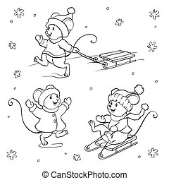 Coloring book or page. Vector mouse set. - Coloring book or...