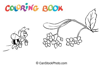 Coloring book or page. Fanny honeybee and flowers. - vector...