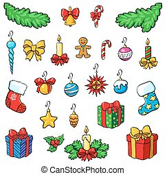 Christmas decorations with gifts.