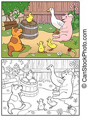 Coloring book. A yellow chicken cheers ducks and puppy.