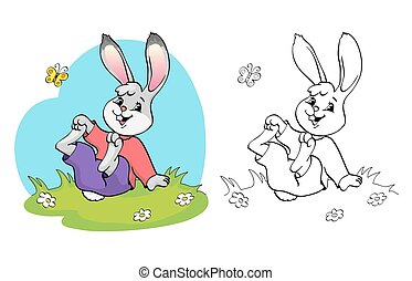 Coloring book or page. Rabbit in a meadow among the daisies and butterfly.