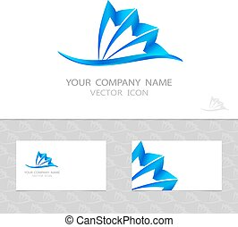 Vector logo set. Blue wave and shell. Pattern with waves.