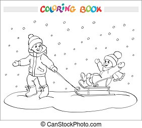Coloring book or page. Two kids - boy and girl on sled.