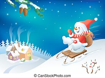 Vector Christmas greeting card with fanny snowman. New year...