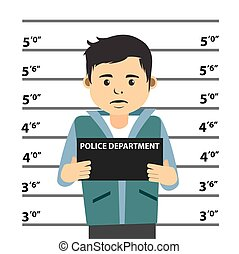 Mugshot Of Young Man Vector Illustration