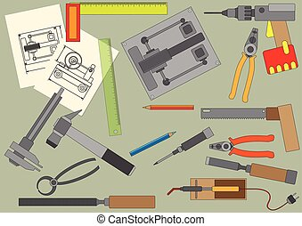 set of hand tools for productive work.