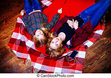 having fun together - Family concept. Two cute girls, older...