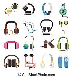Headphones vector set.