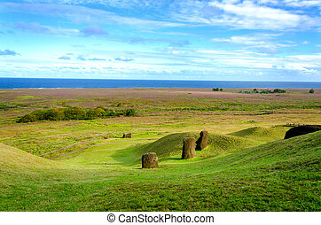 Easter Island Landscape - Moai looking out towards the...