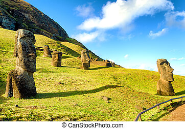 Stone Heads on Easter Island - Stone Moai on Easter Island...