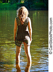 girl stand in river - beutiful girl stand in river