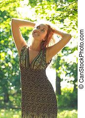 beautiful girl in sunshine rays