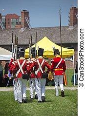 TORONTO - June 20: Men wearing historical military uniform...