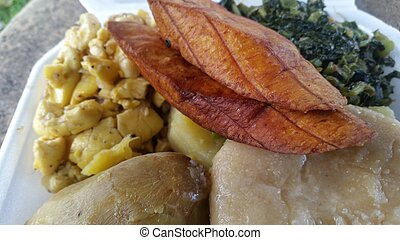Ackee plantain and callaloo breakfast