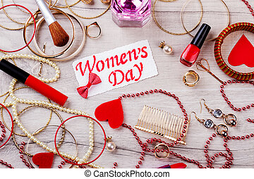 Women`s Day card with jewelry.