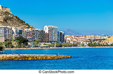 View of Postiguet Beach in Alicante, Spain - View of...