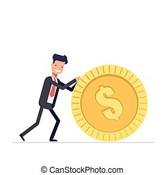 Businessman or manager pushes a gold coin. Man in business suit got the reward. Vector, illustration EPS10.