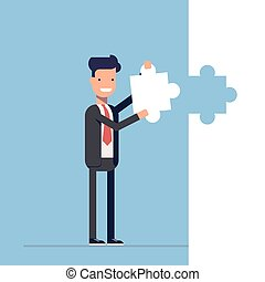 Businessman or manager puts the last piece of the puzzle. Shutdown. Solution. Happy man in a business suit. Vector, illustration EPS10.