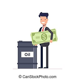 Businessman with money manager or stands near the barrels of oil. Black Gold. Earnings on natural resources. Vector, illustration EPS10.