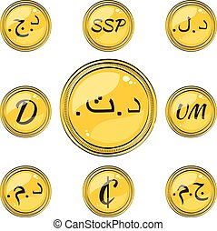 Set with Northern and Western Africa Flat Currency Symbols -...