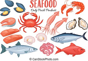 Seafood in cartoon style. Vector icons mussel, fish salmon,...