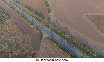 Panoramic shooting highway is lost between a plurality of...