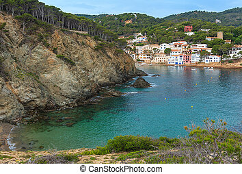 Summer sea bay (Spain). - Sea bay summer view with town on...