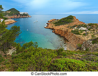 Summer sea bay (Spain). - Sea bay summer view with small...