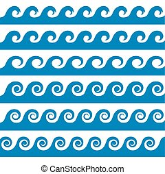 Set of blue water waves icon. Vector Illustration.