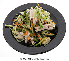 Cucumber salad with ham, black and whie mushrooms - Chinese...
