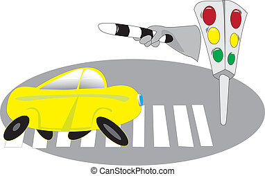 Cars, traffic lights - The situation on the pedestrian...
