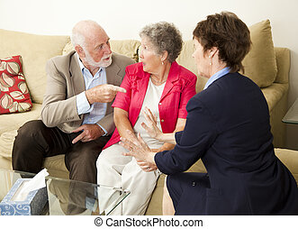 Senior Couples Counseling - Senior couple in therapy,...