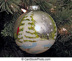 "A ""Winter Scene"" Christmas Ornament displayed on a Christmas..."