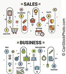 Vector thin line flat design Sales and Business concept...