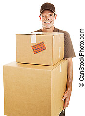 Delivery Man with Heavy Boxes - Delivery man or mover...