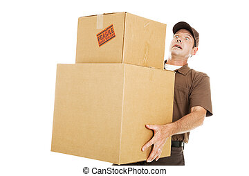 Overwhelmed Delivery Guy - Delivery man or mover about to...