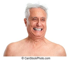 Elderly man laughing . - Happy smiling senior man portrait...