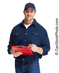Car mechanic. - Young handsome car mechanic isolated white...