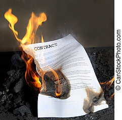 contract - Burning in the flames of the fire contract