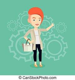 Successful business idea vector illustration. - Caucasian...