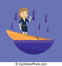 Business woman standing in sinking boat. - Business woman...