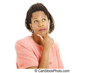 Thoughtful - Beautiful African-American woman thinking....