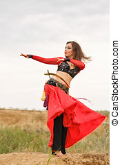 Dance with a sword. Tribal style - Oriental Beauty dance...